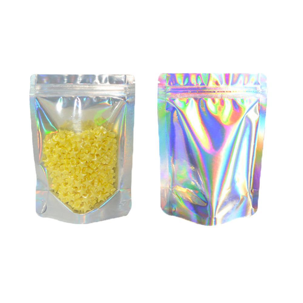 Hot richiudibile vuota odore borse a prova di sacchetti sacchetto sacchetto piatto con ziplock sacchetto laser colorato sacchetto di imballaggio per la festa con favore del partito