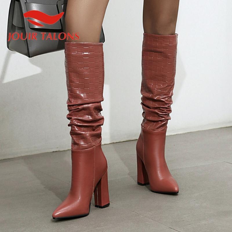 marca jouir TALONS novo design das mulheres sapatos claccics toe pontas saltos grossos de pedra plissado booties padrão joelho altas