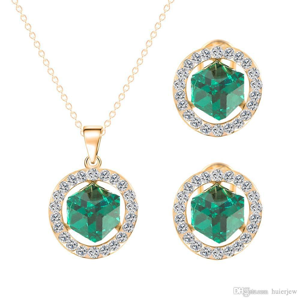 Bridesmaid Jewelry Set Pendant Necklace Beautifully Sets crystal Vintage Holiday Party Wedding Party Jewelry Set