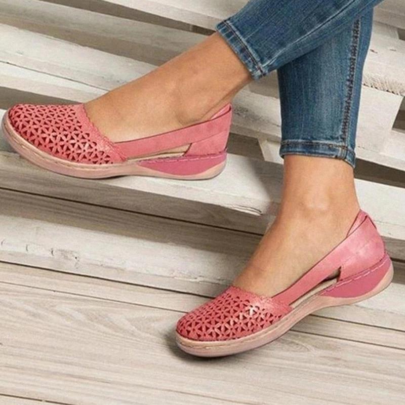 Summer Women Wedges Sandalias ortopédicas Zapatos de oficina Mujer ahueca hacia fuera zapatos vintage resbalones en casas casuales damas junion sandalias # 7U53