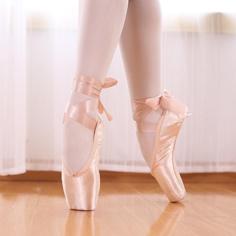 Ballet Professional Pointe sapatos de lona cetim preto Vermelho Rosa Bailarina por Desempenho Dancing With Toe Pad 201017