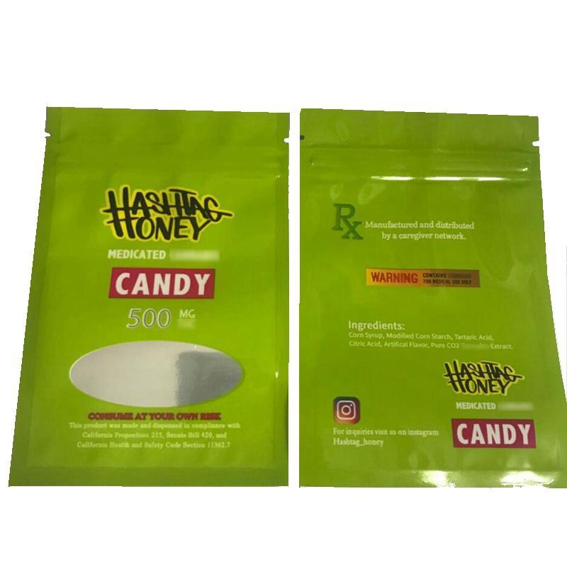 2020 Neueste medizinische 500mg Hashtag Honey White Runtz Mylar Taschen Kekse Taschen Essbare Verpackungen MediBels Edibles Verpackung SMKMJHKJH
