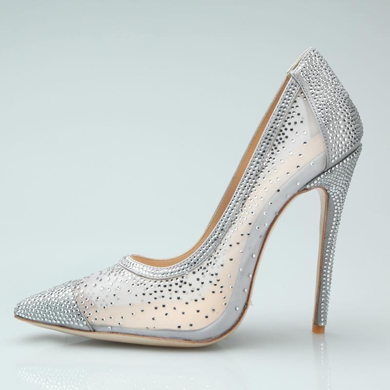 Brautschuhe Kristall Glitter Stiletto Pumps Air Mesh Spitzschuh Slip-on-Absatz-Kleid-Damen Schuhe beliebte Stable