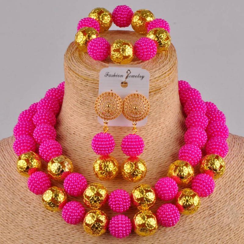 rosa fúcsia colar de traje conjunto africano pérolas bege simulado contas nigeriano jóias set ZZ08