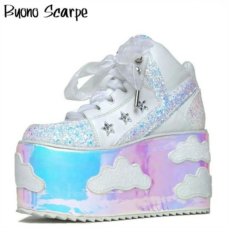 Высокая платформа Облако кроссовки клинья Bling Bling Spice Girl обувь Sky платформы кроссовки Шнурки на высоких каблуках обувь Повседневная обувь Улица 1006