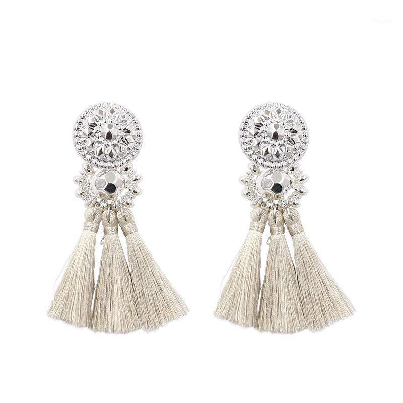 Boucles d'oreilles à glands en argent / or de la mode pour femmes Bohême à la main Bohême Vintage perles Boucle d'oreille Ethnique frange goutte boucle d'oreille bijoux1