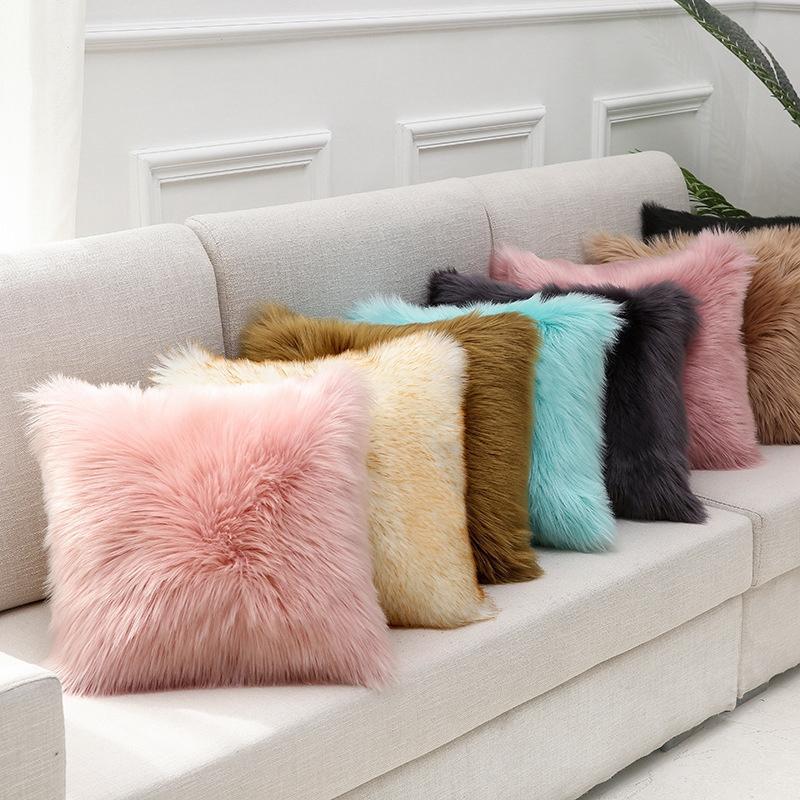 Federa peluche Furry imitation Cashmere Home Soft Home Confortevole Cuscino Cover Soggiorno Divano Domestico Cuscino VT2004