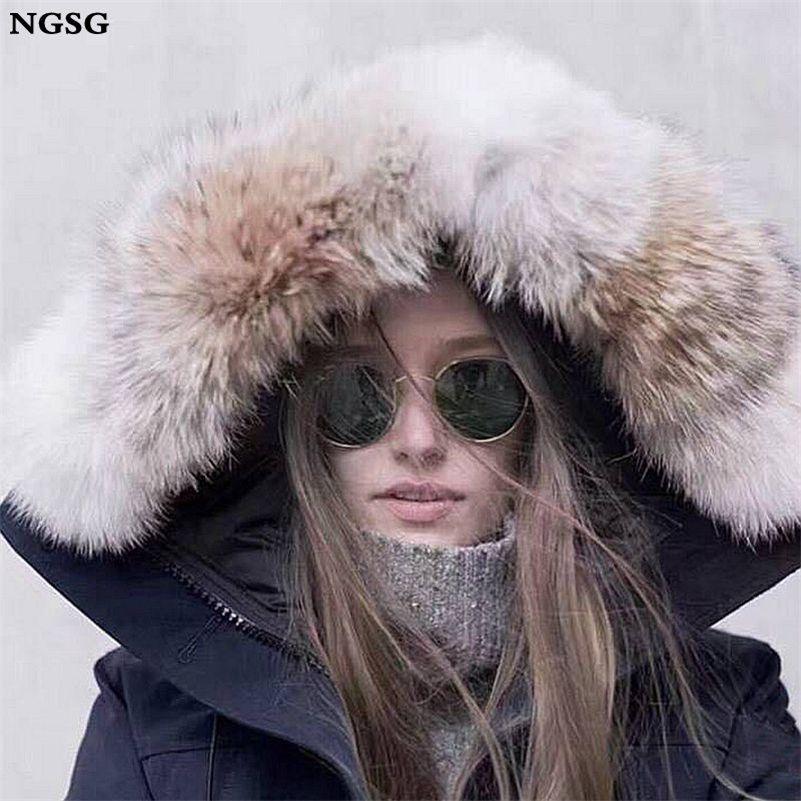 Aşağı ceketler Hood Trim Kurt Yumuşak Orijinal Eşarp Natürel Şapka Yaka Y201007 için Real Çakallar