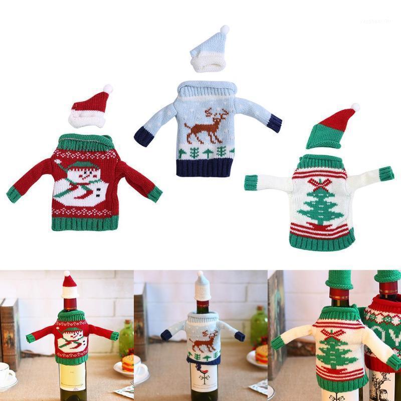 Рождественские украшения вязание свитера вина бутылка набор с шляпой рождественские дерево кулон орнамент милый подарок для детей1