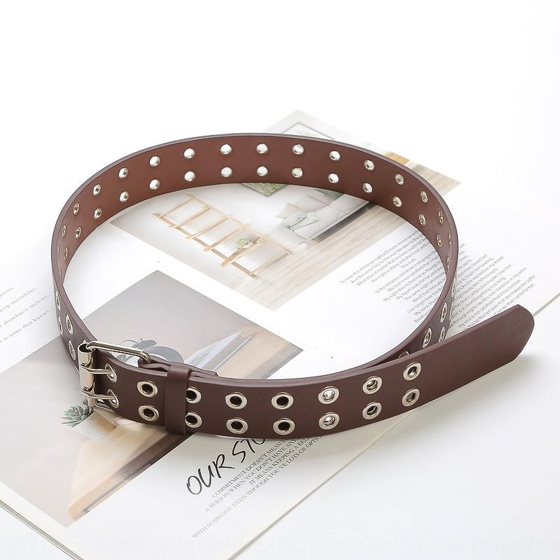 Pu doble fila de cinta ojo de vapor de cobre de las mujeres versátiles Pin Pin clásico del punk cinturón ihcNQ
