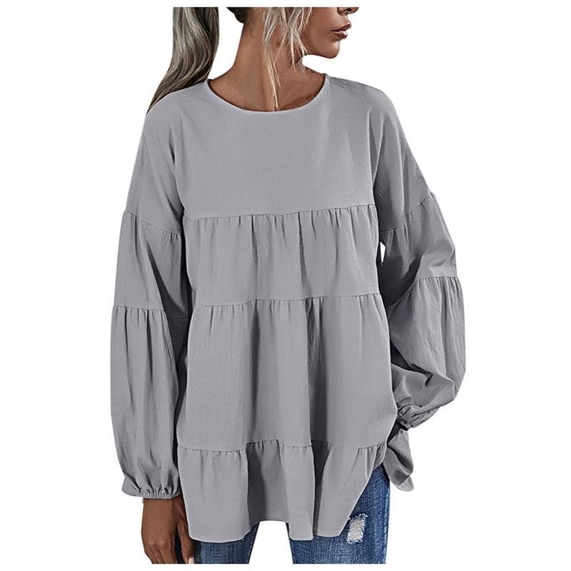 Abbigliamento per la camicetta da donna Plus Size Ladides Abbigliamento per le donne Camicetta O-Neck Lantern Manica Lunterna Camicetta di grandi dimensioni Camicetta Top 201201
