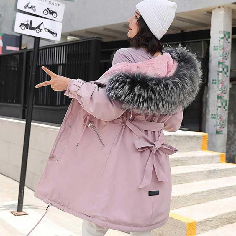 2019 mulheres jaqueta de inverno com grande pele capuz nova chegada feminina longo casaco de inverno parkas com forro de pele1