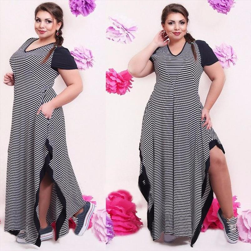 Große Größe 6XL Fat MM Frau Kleid Sommer beiläufige Schwarzweiss-Streifen geteilten Kleider plus Größe Frauen Kleidung 6xl Kleid Räumungs
