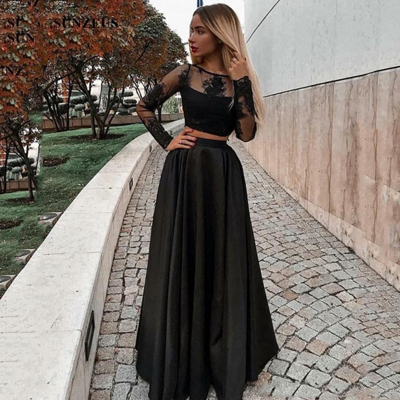 Two Pieces Black A Line Evening Dresses with Lace Applique Long Sleeves Bride Vestidos De Novia Cheap Prom Formal Gowns