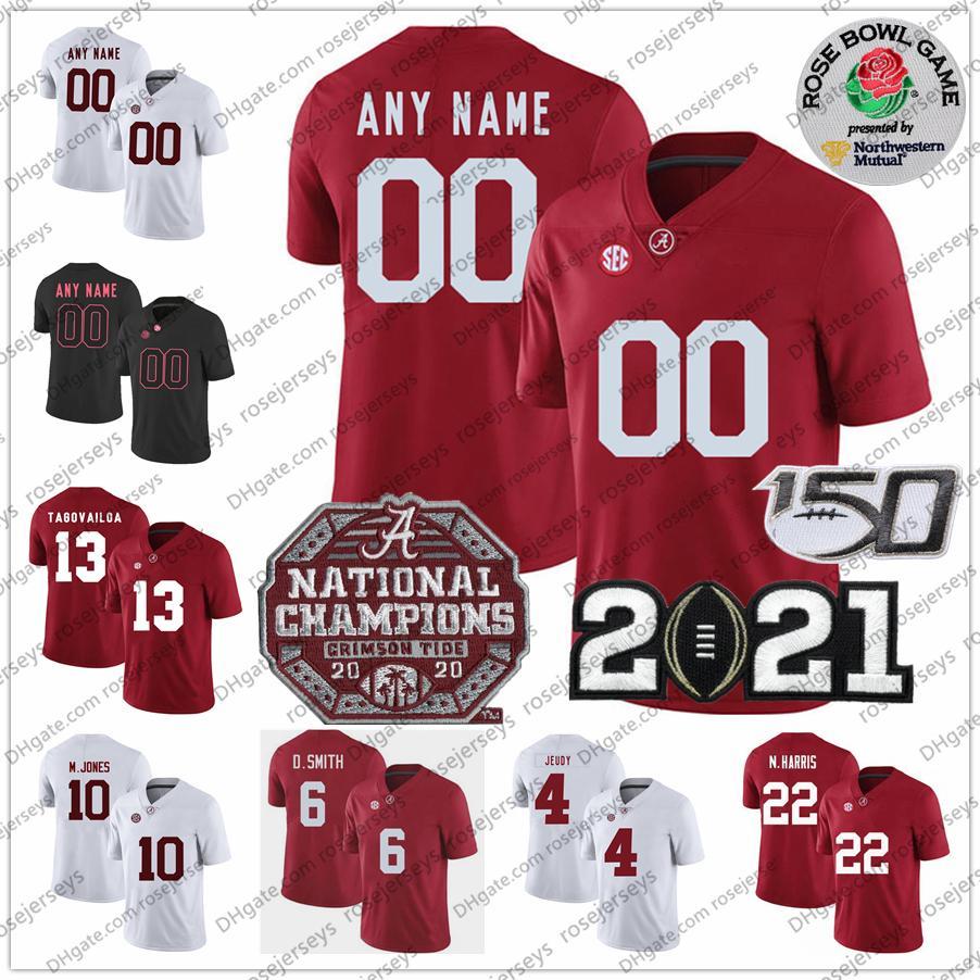 Custom 2021 Alabama Carmesim Maré 6 Devona Smith 10 Mac Jones 22 Najee Harris Tagovailoa 4 Brian Robinson Jr. Championship Rose Bowl Jersey