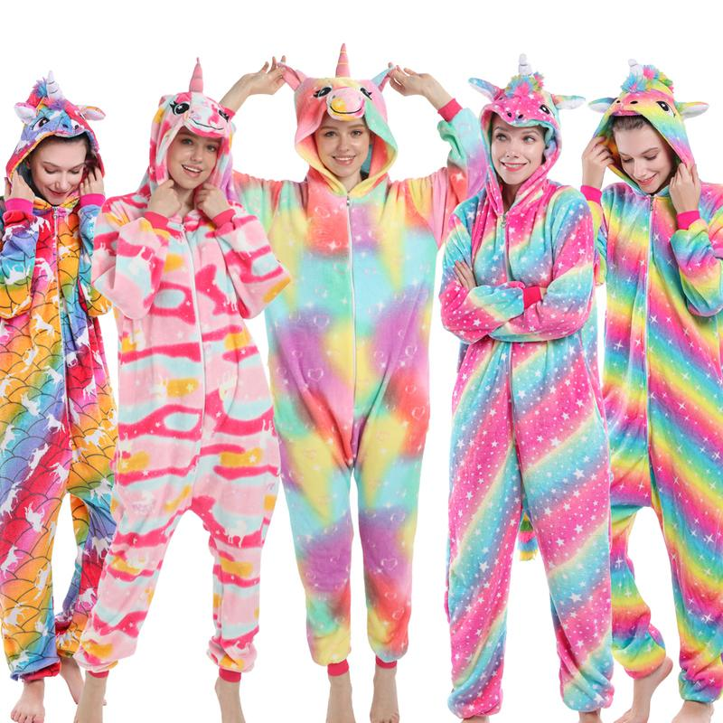 2020 Hiver Nouveau molletonné chaud Unicorn Pyjama bébé vêtements de nuit pour enfants Homewear Kigurumi Pyjama Onesies pour adultes
