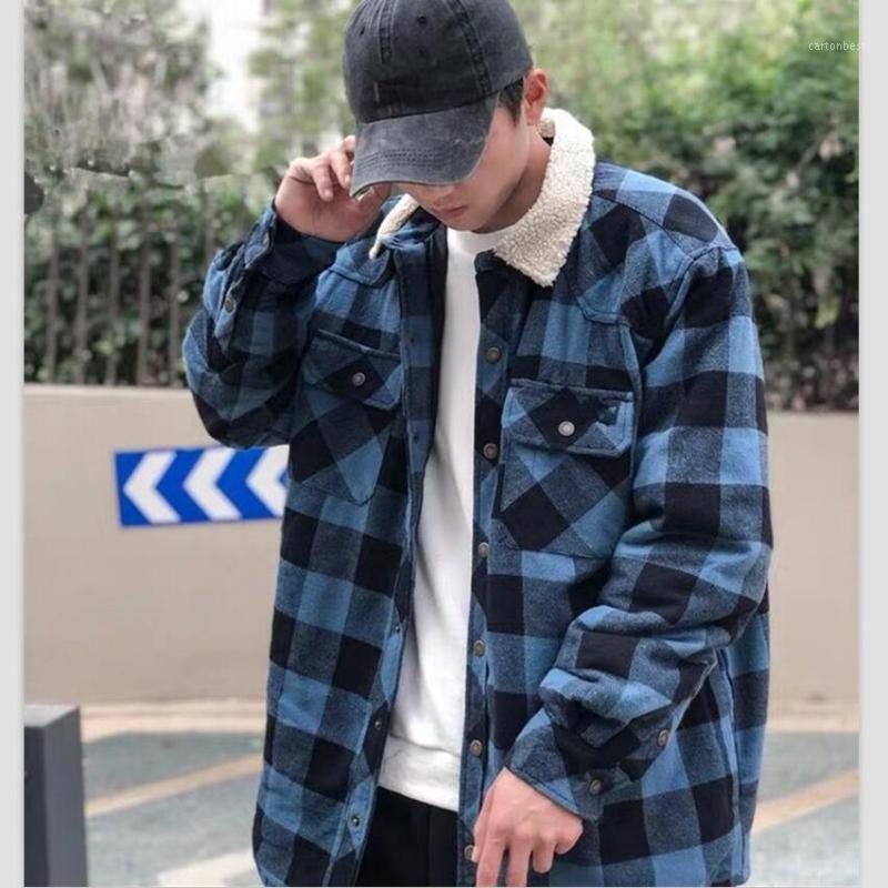 Chemise à carreaux de haute qualité d'hiver de grande taille Épaissie de haute qualité épaissie Chemises de coton chaudes occasionnels chemise à manches longues décontractées1