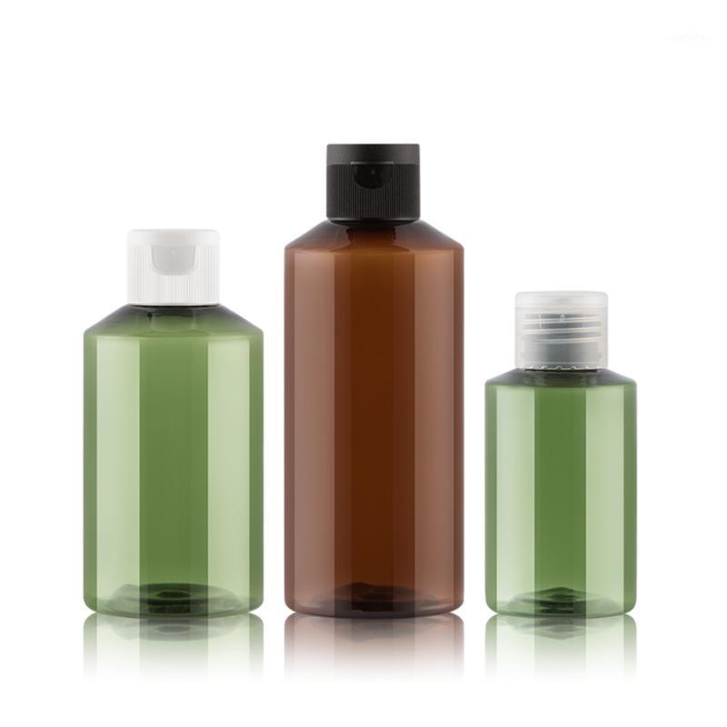 زجاجات التعبئة 50 قطع 50 ملليلتر 100 ملليلتر فارغة براون الأخضر إعادة الملء البلاستيك زجاجة مستحضرات التجميل مع أبيض شفاف أسود فليب أعلى كاب 1