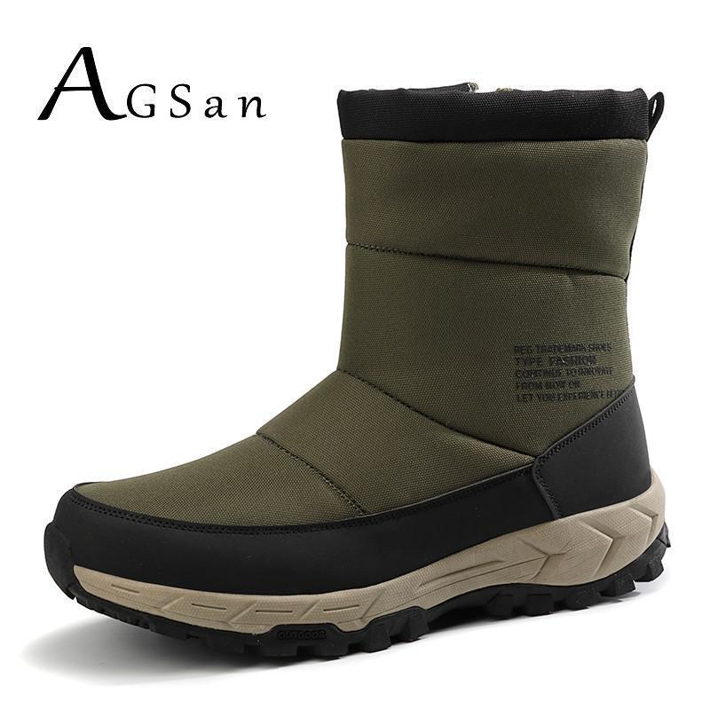 AGSan Winter Schneeschuhe für Männer Plüsch-Pelz-Schuhe Armee-Grün Kurze Stiefel mit Reißverschluss Outdoorschuh Non Slip Rubber Stiefel der Männer 201110 Warm