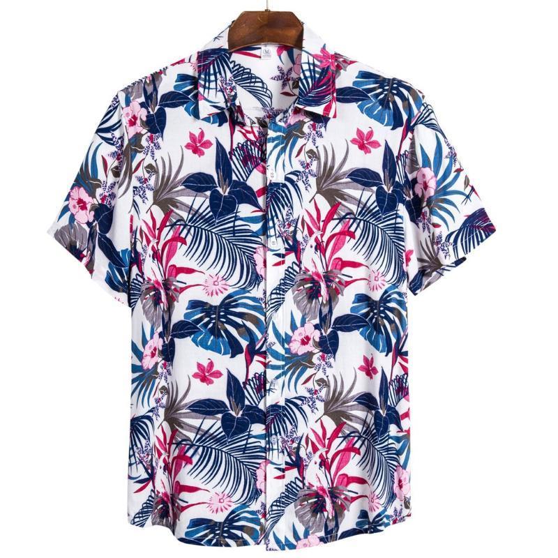 Men's Casual Shirts Men Shirt Mens Ethnic Short Sleeve Printing Hawaiian Blouse T-shirt Fashion Basic Top