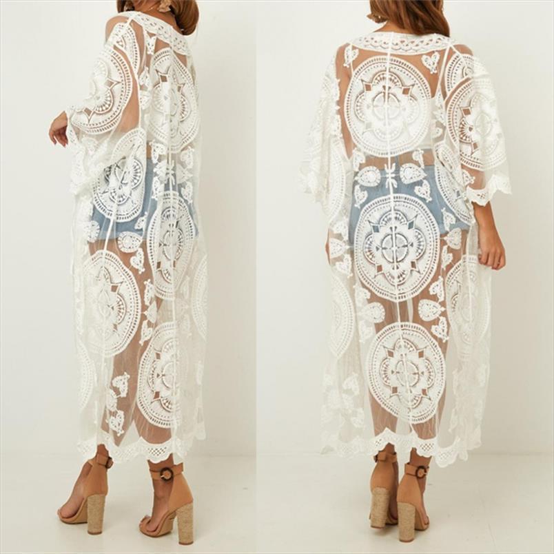 2020 Sexy See Through Tre quarti manica lunga Kimono cardigan Plus Size Women Beachwear Lace tunica signore parti superiori e camicetta N858