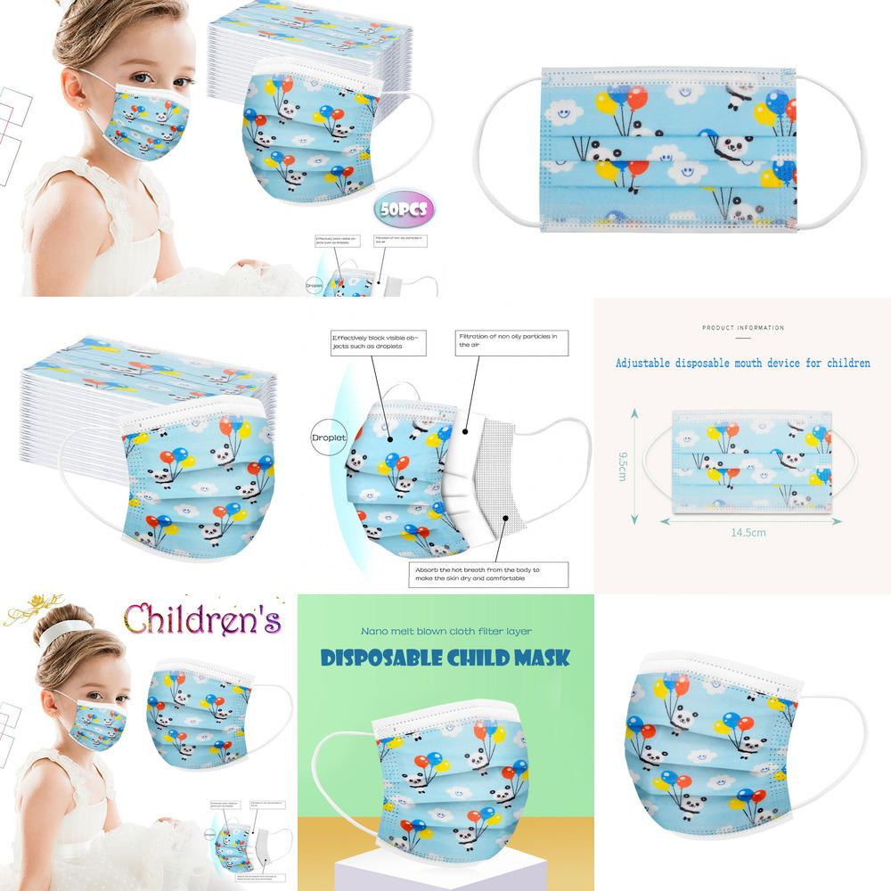 3 caixa dos desenhos animados crianças máscara descartável 50 pcs camada filtro criança higiene engrossar uma máscara de boca infantil máscara de lagoa em stock dw1