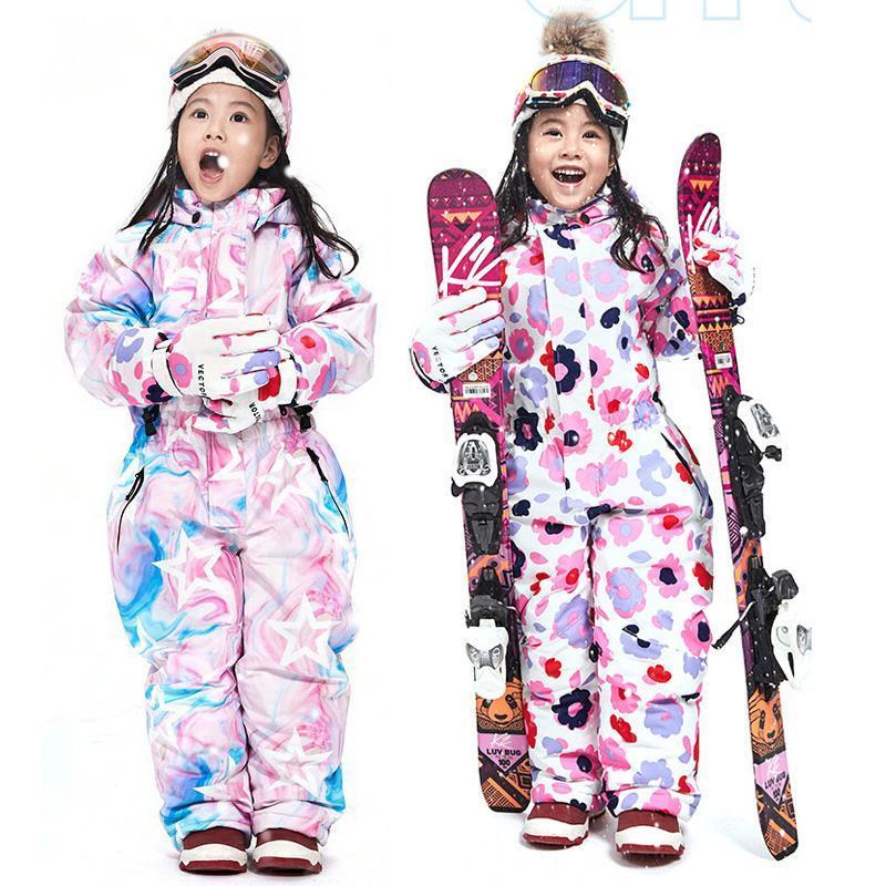 El traje de invierno con capucha de los niños calientes del invierno de chicas de una pieza trajes de esquí Snowboard Deportes mono impermeables para niños ropa de nieve