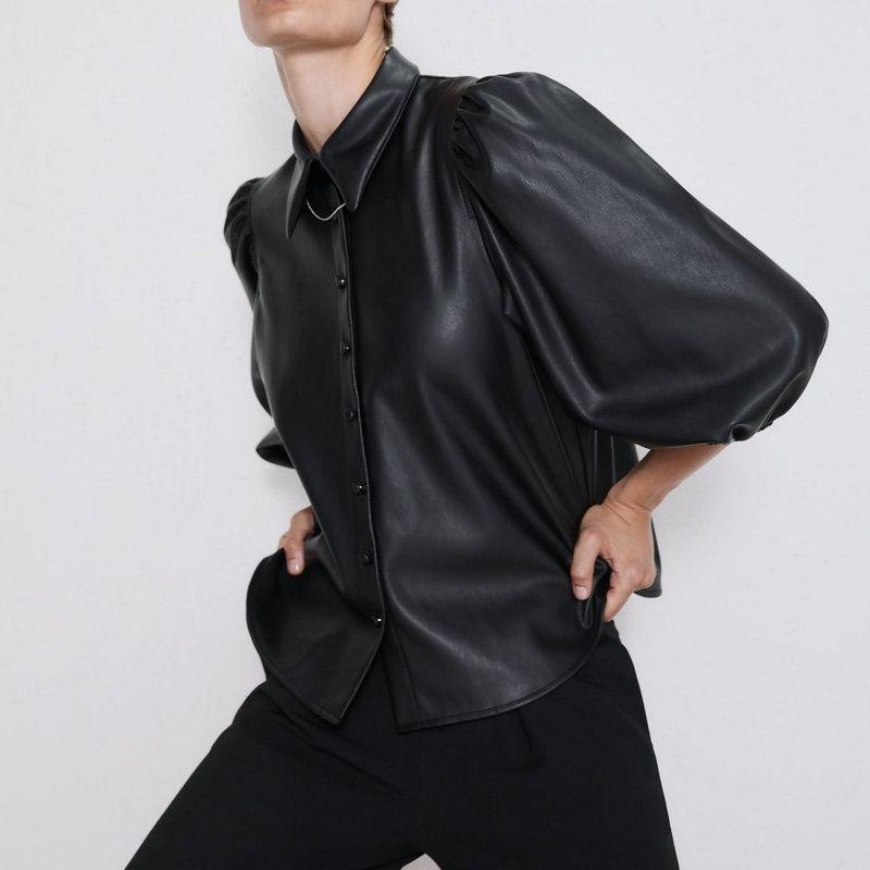 Nouveau mode Femmes Femmes Cuir Turn Down Collier Blouses T-shirts Fluffy Sleeve Chemises Femme Pu Lâche Boutons élégants Tops Dames HP Y200403