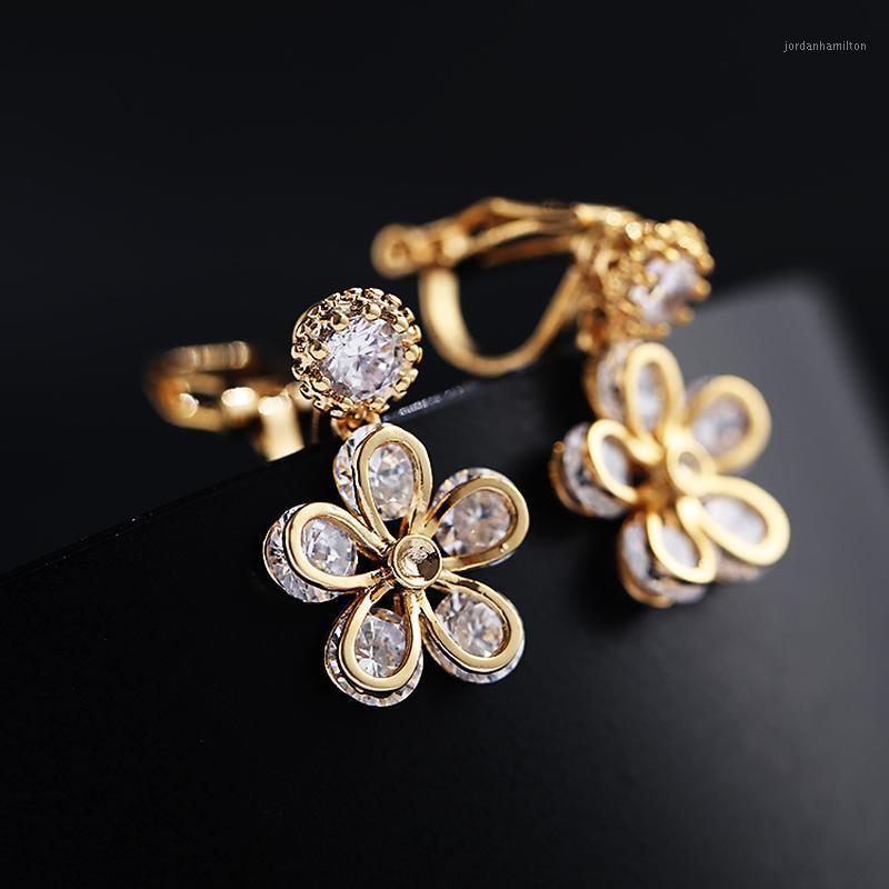Clip-On-Schraube Rücken 2021 Pflaume Original Clip auf Ohrringe Mode Blume Kristall Zirkon ohne Piercing Kein Ohrloch Manschette1