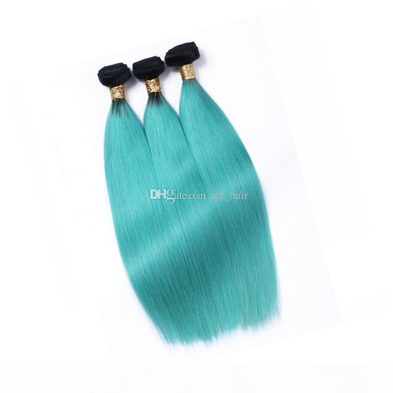 темный корневой два тона OMBRE 1B зеленый прямые волосы 10 дюймов 3шт с закрытием 4x4 10 дюймов