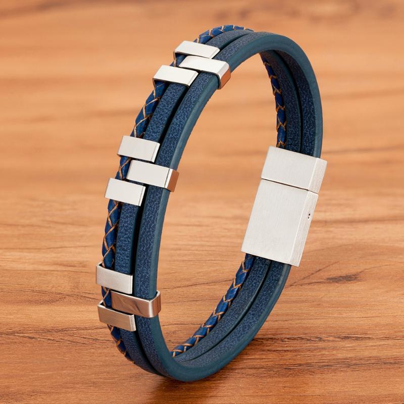 Siyah Kahverengi Mavi Renk Üç Katmanlı Dikiş Aksesuarları Paslanmaz Çelik Erkek Deri Bileklik İleri Tasarım Stil Hediye