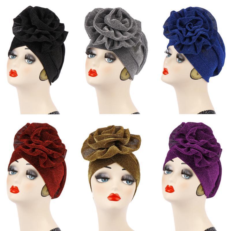 Шапочки / черепные колпачки Мусульманские женщины большой цветок Chemo Cap Hat Pain Havy Head Carrf Turban Bonnet Wrap Beam Skullies Рак
