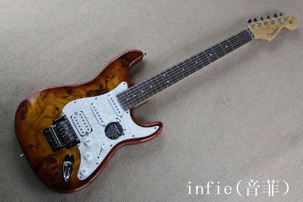 En Kaliteli Toptan Özel Vücut Stratocaster Krom Tremolo Floyd Gül Elektro Gitar