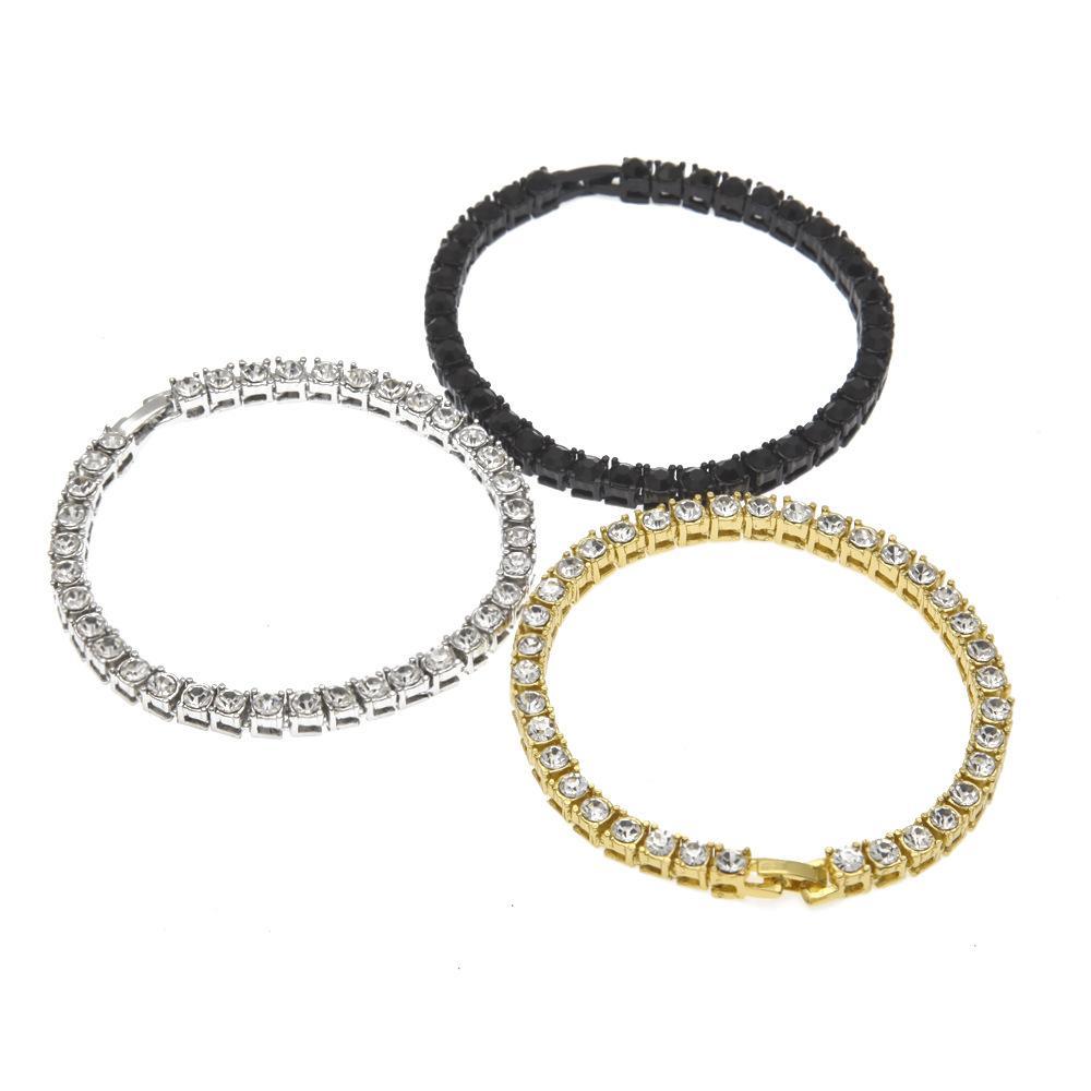 2020 Mens Diamante ghiacciato fuori la catena di tennis dei monili del braccialetto con Argento Oro Nero bracciale a catena 5 millimetri
