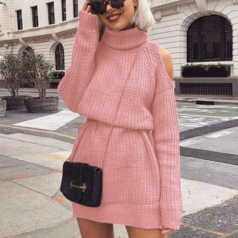 Automne Tirlet d'hiver hors épaule Swey Sweater Robe Femmes Solid Slim Plus Taille Pull long pull long Jumper à tricoter