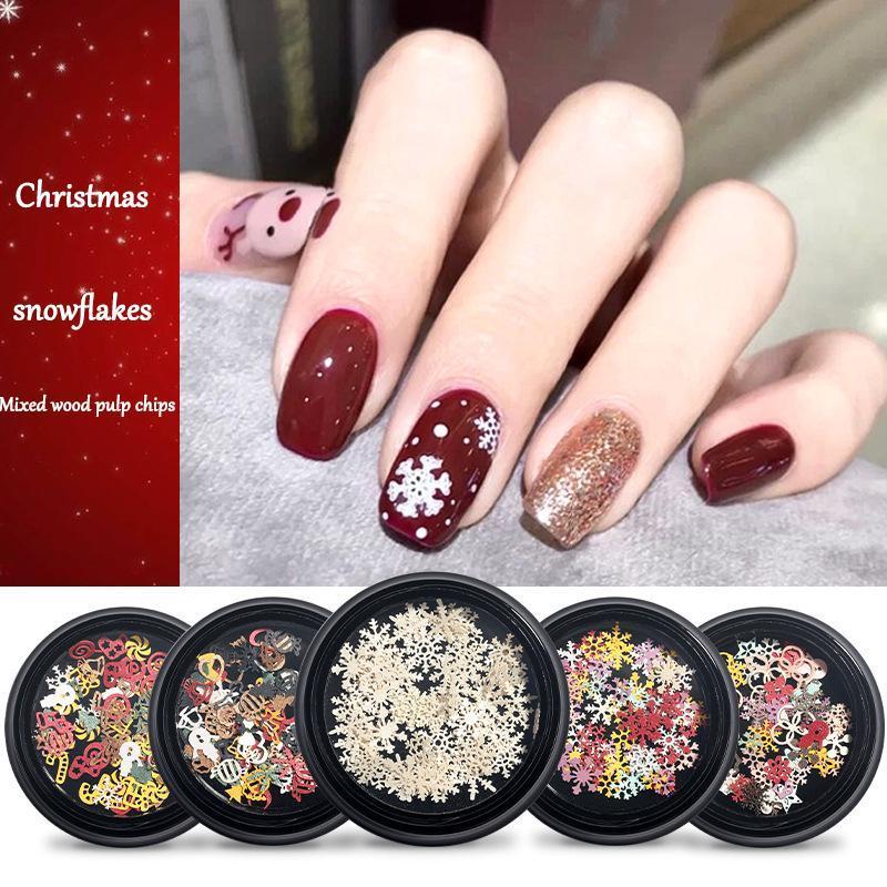 Украшения ногтей искусства 1 коробка рождественской елки снежинки деревянные кусочки 100 шт. DIY аксессуары