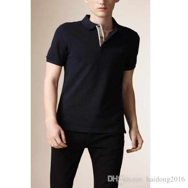 Европейская и американская мужская классическая рубашка поло высокого качества регулярная подходящая лошадь вышивка футболка повседневная рубашки спортивные джерси тройники черные