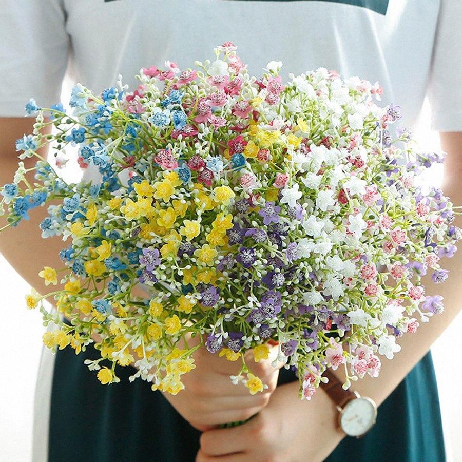 flores coloridas Gypsophila artificiais haste longa flores falsas babys bouquet decoração festa de casamento respiração seda casa MaaW #