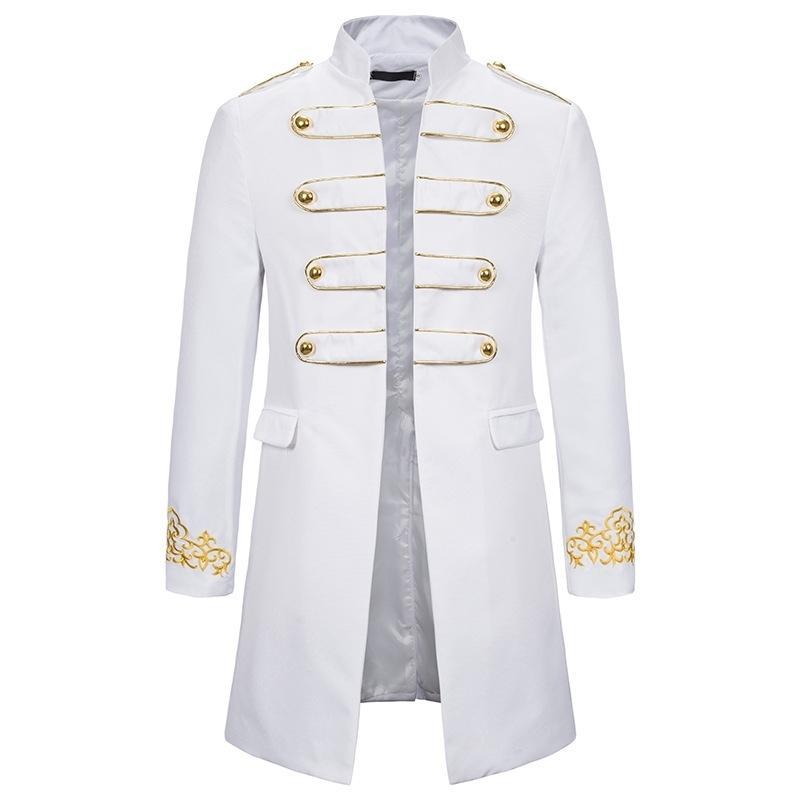 Biały Stojak Collar Haft Blazer Mężczyźni Sukienka Wojskowa Tuxedo Blazer Mężczyźni Kurtka Kurtka Klub nocny Cosplay Blazer Masculino 201013