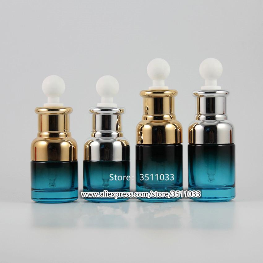 5 stücke 20ml 30ml spezielles pfau blau glas ätherische öltropper flasche kosmetik mit weiß pipette aromatherapie container hgkks