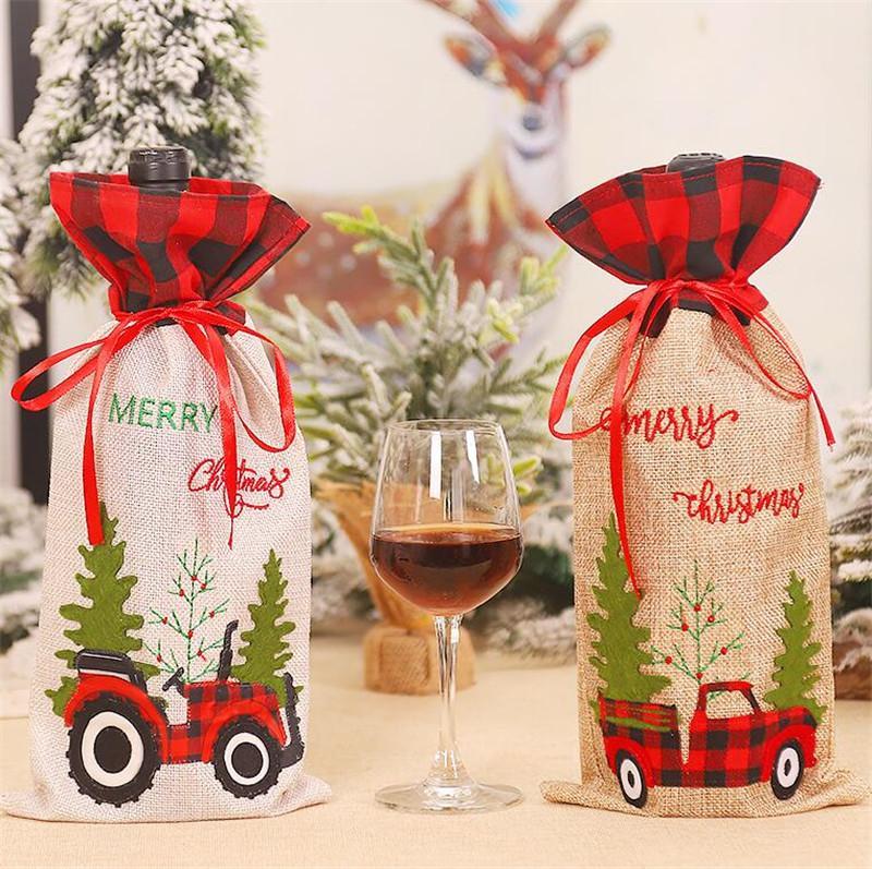 Рождество Вино Крышка с Bow Xmas Красного автомобилем Trucker плед белье Бутылкой Одежда Красных бутылок вина Обложки сумка Новогоднее украшение CZ110202