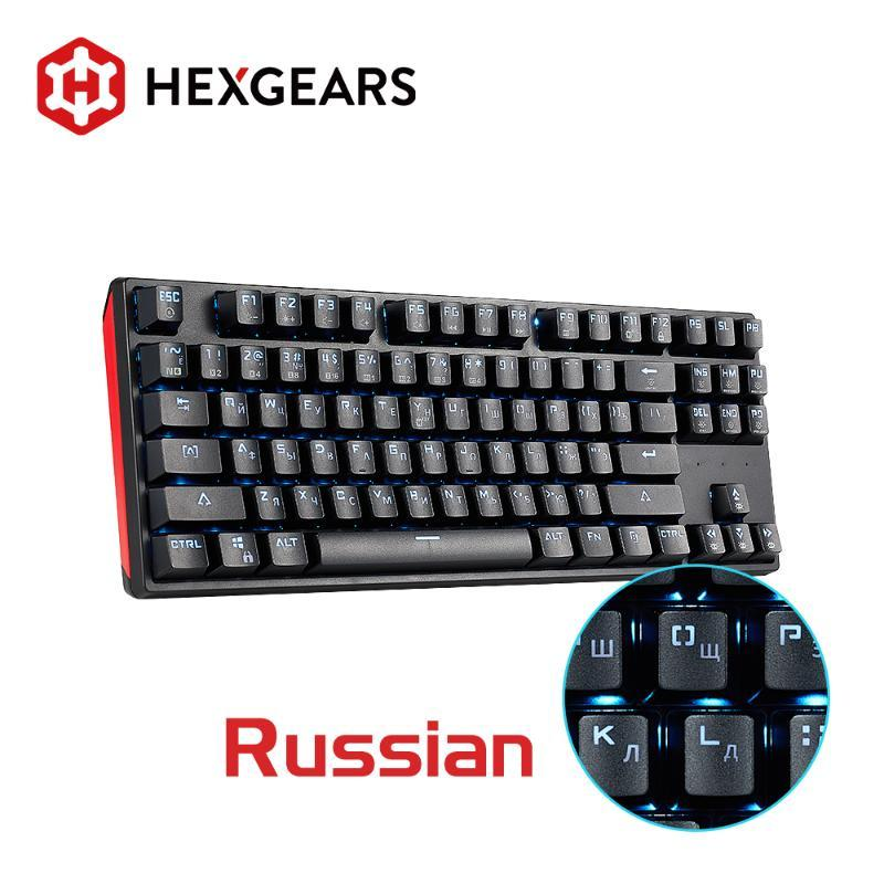 Teclados hexgears gk12 teclado mecânico swap kailh switch 87 key gaming anti fantasma pc russo / mac / volta