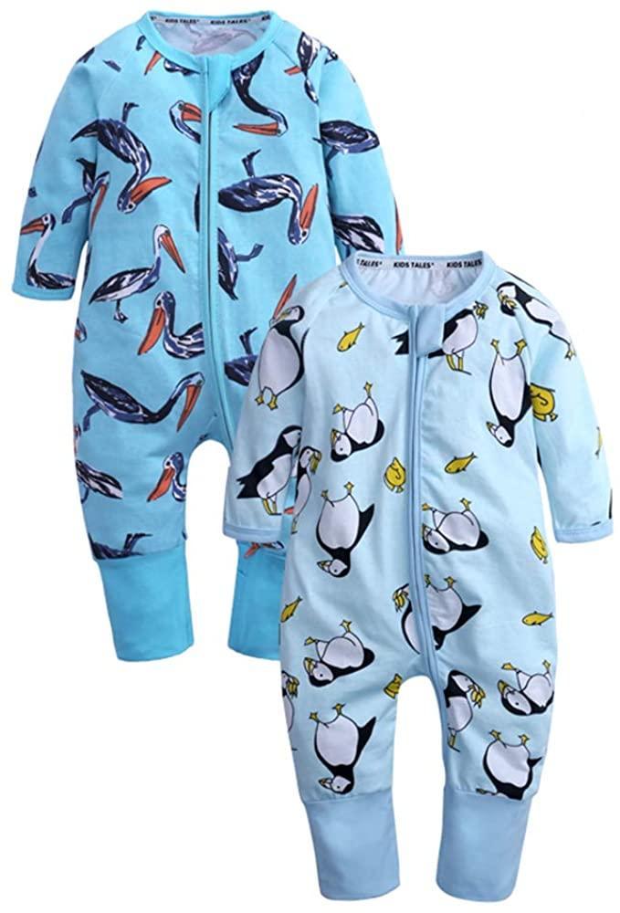 Младенец Детские Полосатый Footed Handed Pajama Sleeper Zipper Romper новорожденных Детская одежда