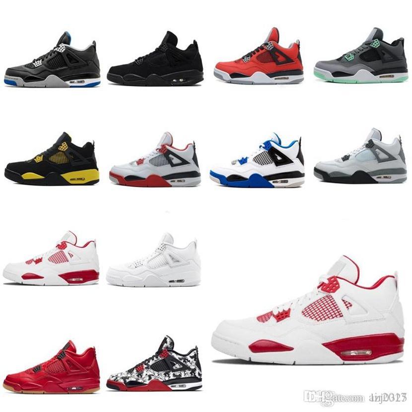 Jordan Air Retro 2021 Designer Sport Shoes 4 Womens Mens Baloncesto Shoes 4s New Sneakers Black Cat Fire Red Bred IV Cactus Trainers 40-46 D1-H100 1