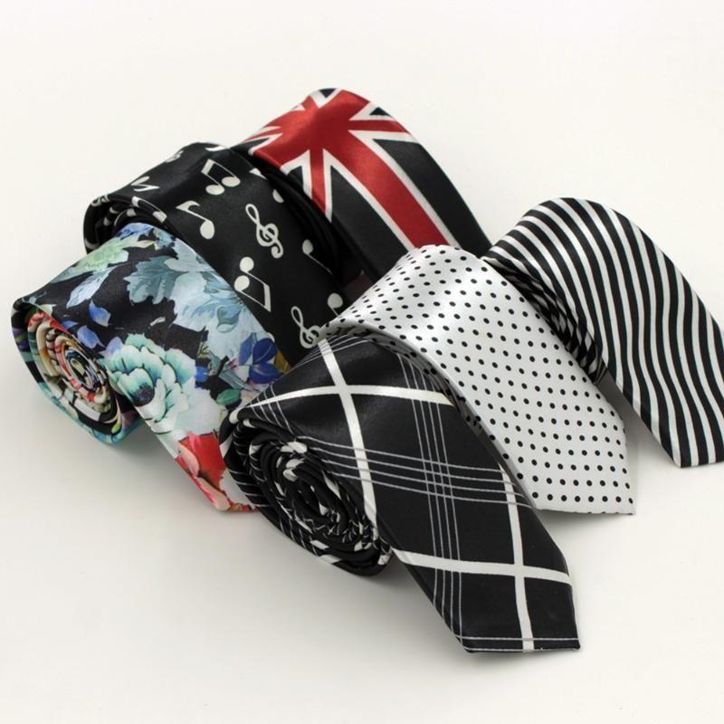 9 colori moda slim uomo cravatta per uomo poliestere cravatta di seta stampa puntini a strisce puntini musicali marca chinise stile fiore 5cm larghezza 1