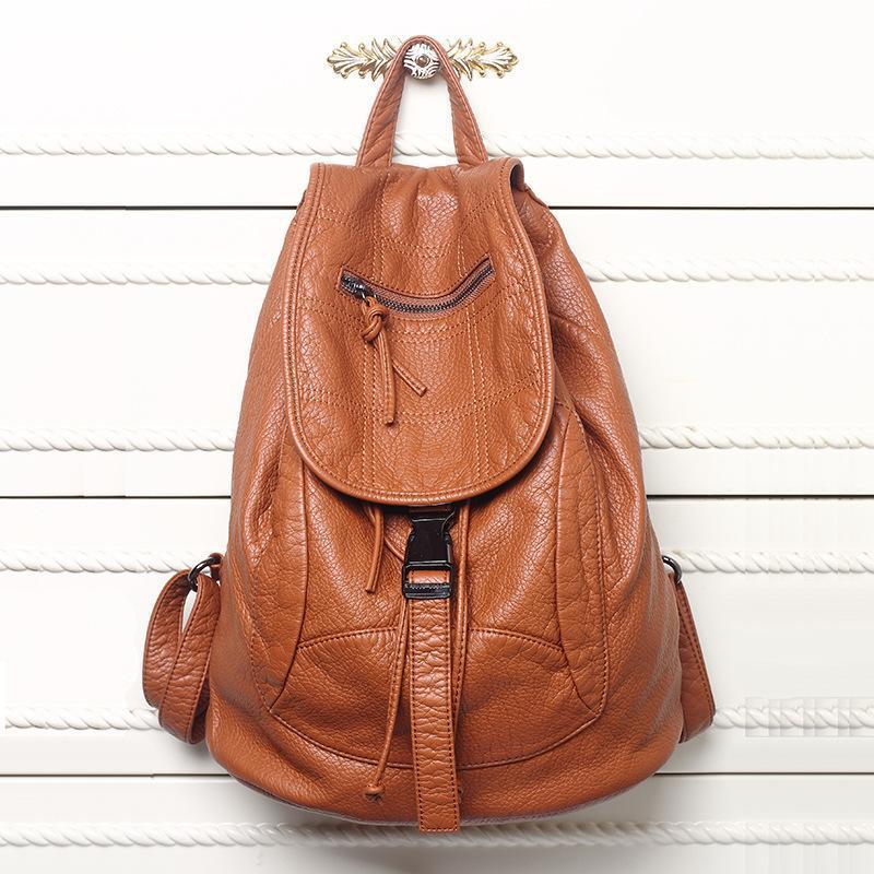 New couro lavado Bag alto grau de couro Mulheres Mochilas Mochilas Mujer Mochila Escolar Para Meninas Travel Bag Mochila