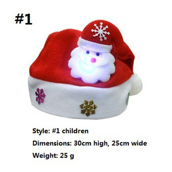 LED Christmas Hat Child Santa Red Accessories Decorations For Holiday Party New Year Supplies Two kinds of style GWD2243