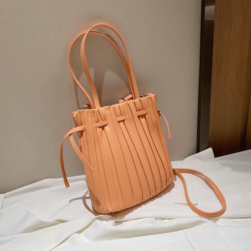 Luxus kordelzug pjoqv lässig falt weibliche frauen leder handtasche design taschen crossbody einkaufen reise schulter totes tasche ovhbg