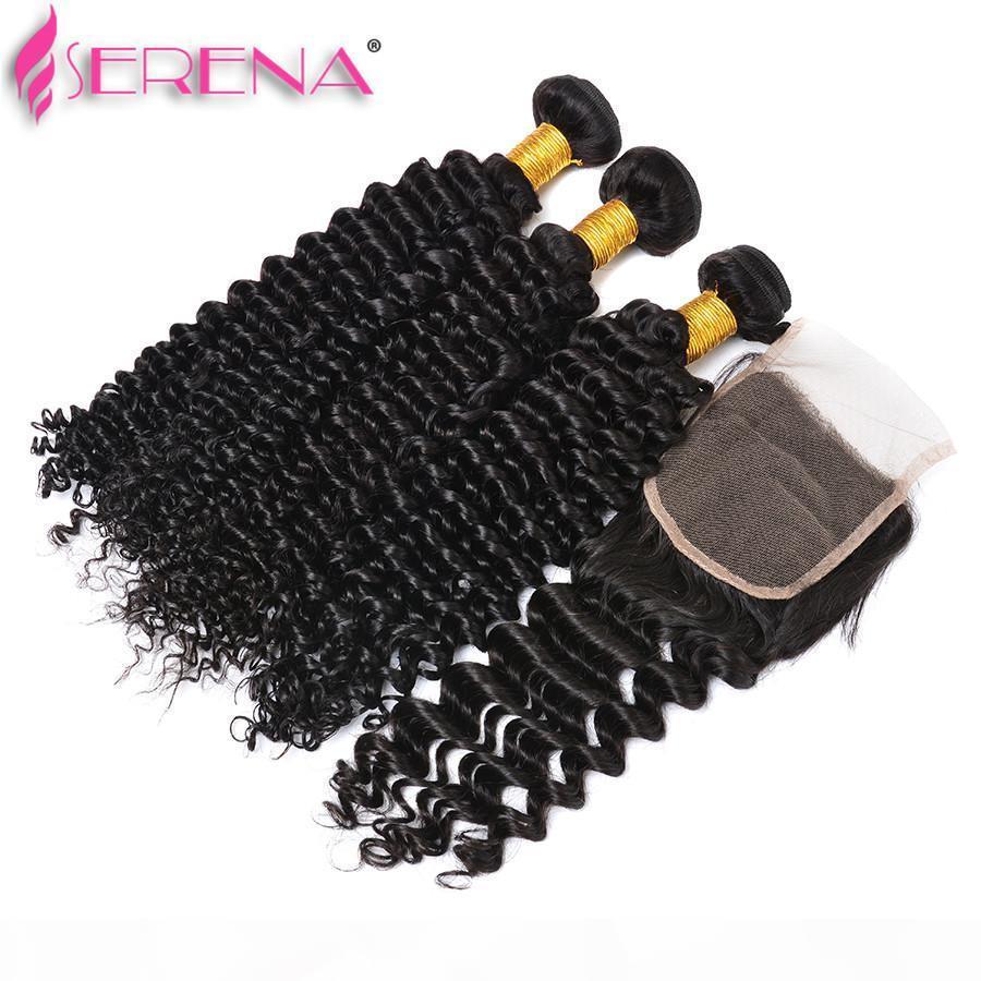 Faiscins de cheveux vierges de tissu vierge de tissu vierge péruvien des cheveux profonds tissés 3 faisceaux avec fermeture d'une onde profonde des extensions de cheveux humains brésiliens