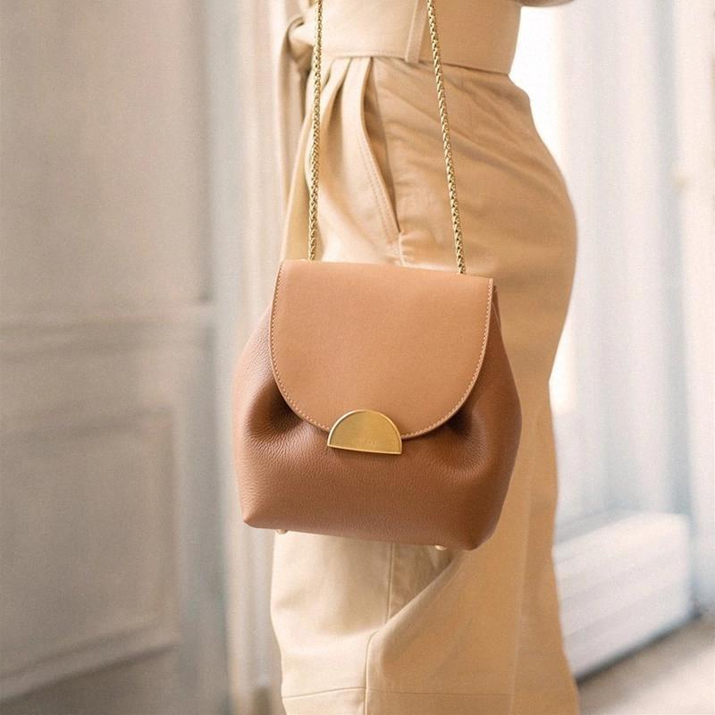 VALENKUCI Kadınlar Deri Çanta Retro Lady Çanta Fransa Ünlü Marka Crossbody Çanta Zarif Lüks Tasarımcı Kova Çanta Zincir Çanta # O03Z